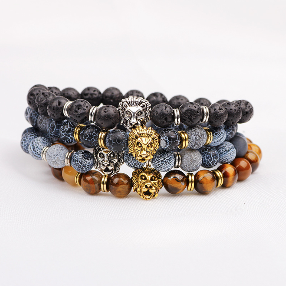 beads bracelet lion jewelry natural stones