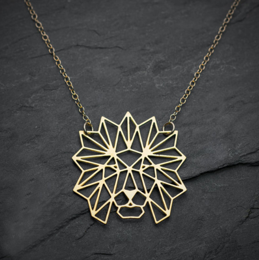 lion origami pendant necklace jewelry