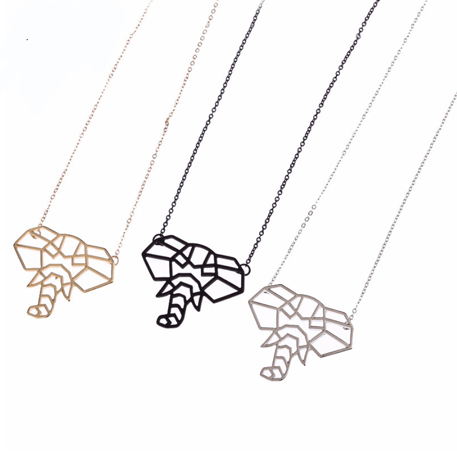 Elephant Origami Pendant Necklace Jewelry