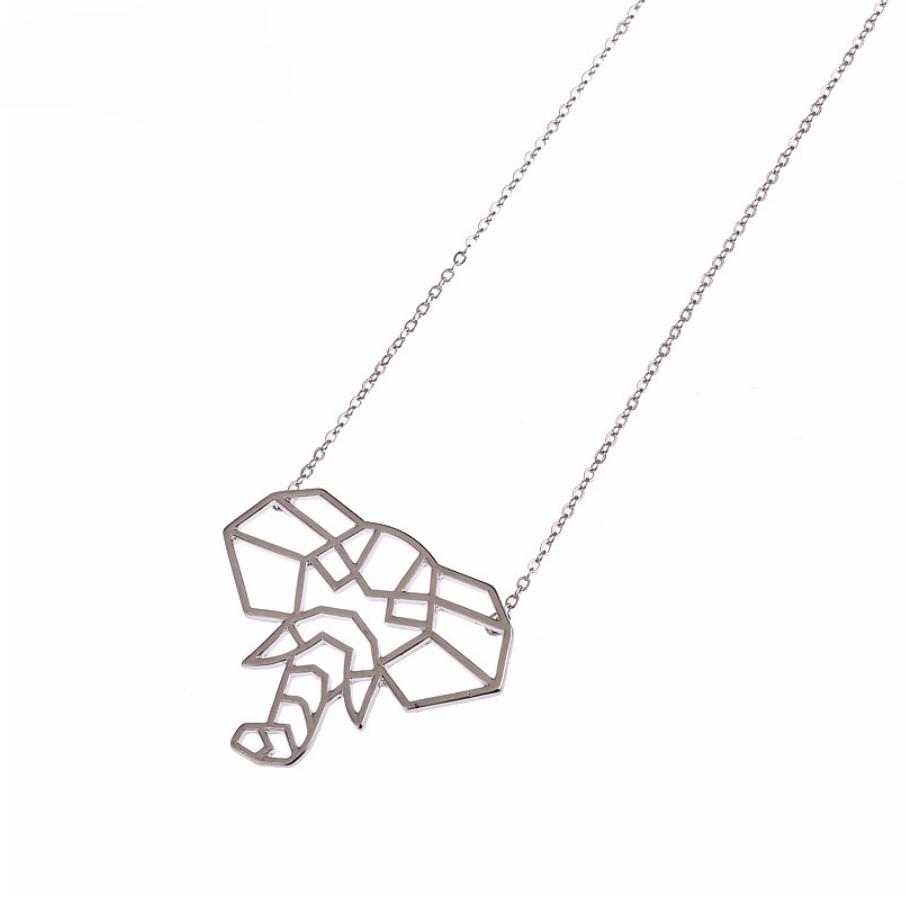 elephant origami pendant necklace jewelry