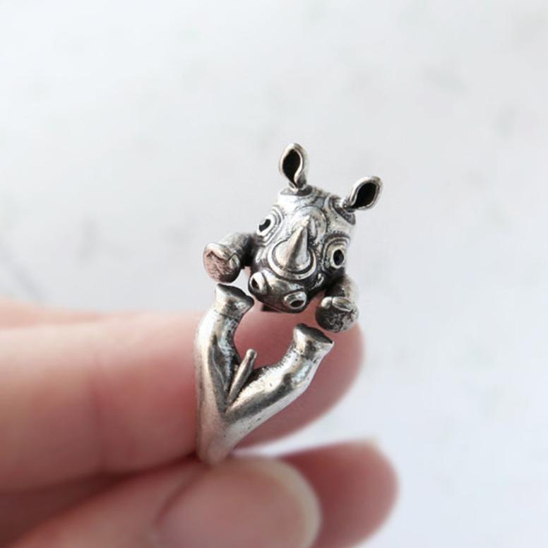 rhinoceros rhino ring silver
