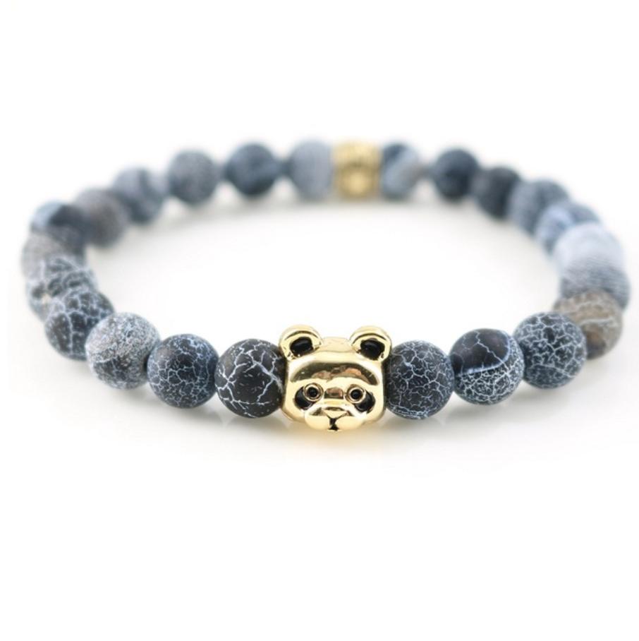 panda bracelet handmade beaded natural stones