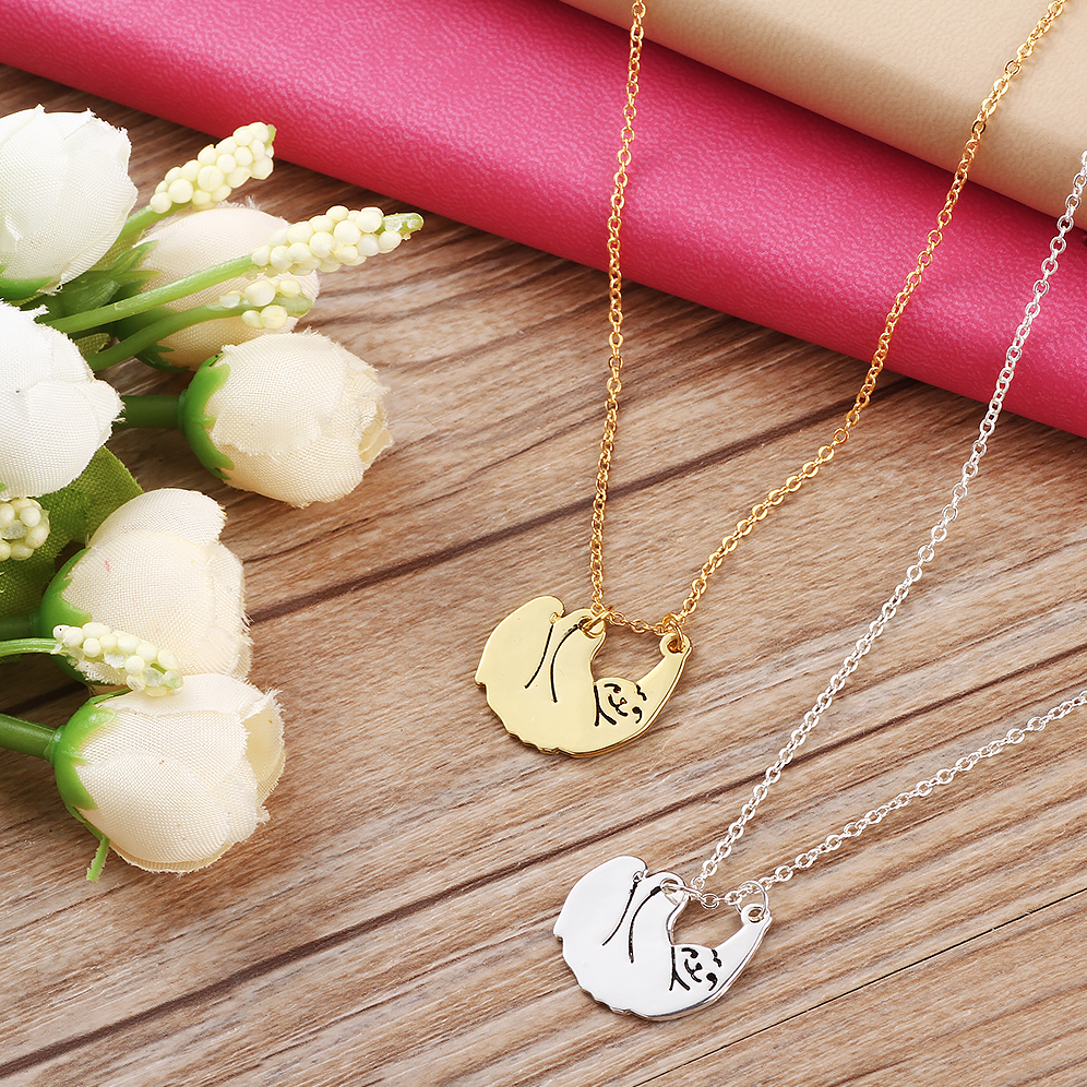 rose com necklace silver gold sloth dp pendant amazon jewelry