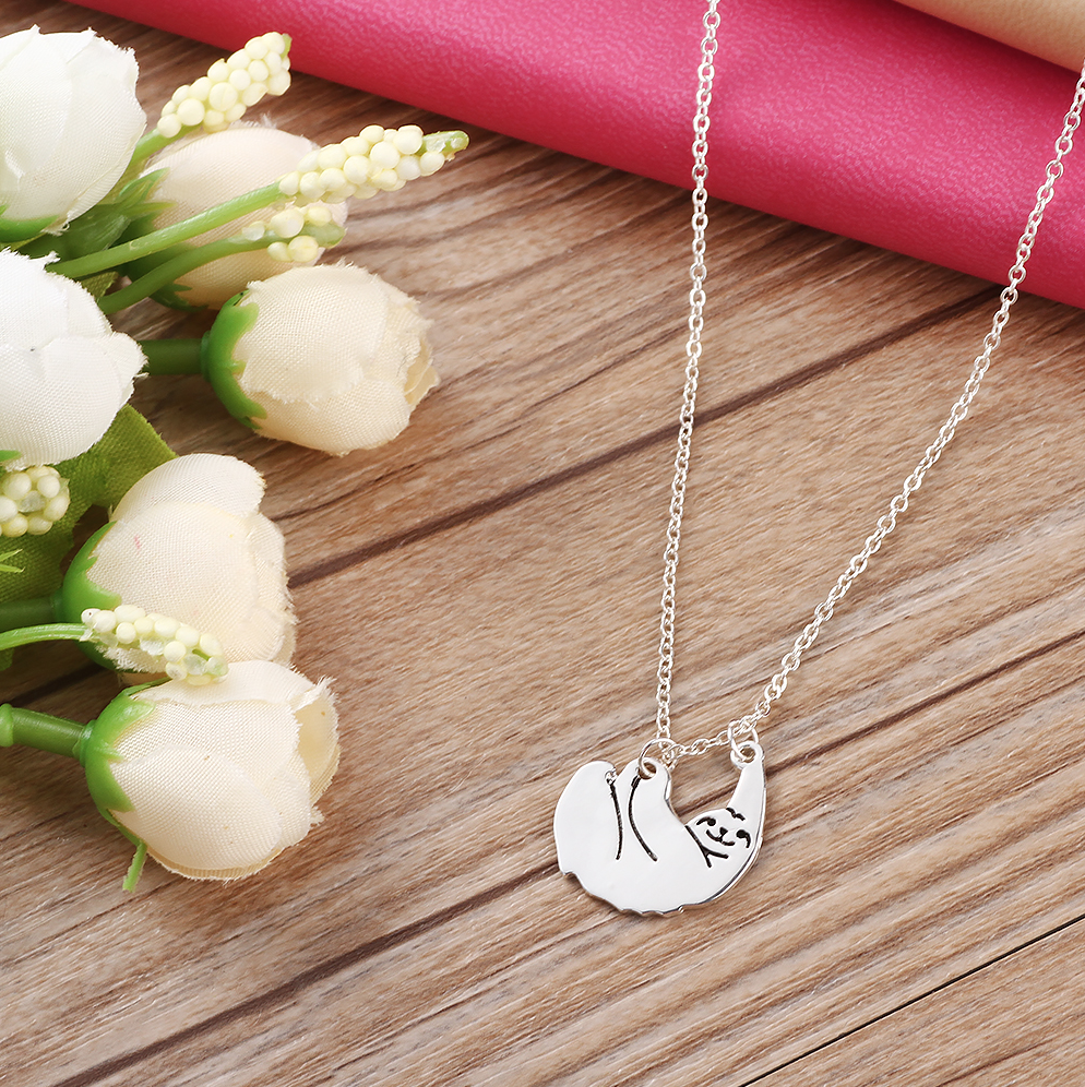 sloth pendant necklace minimalist golden silver pink