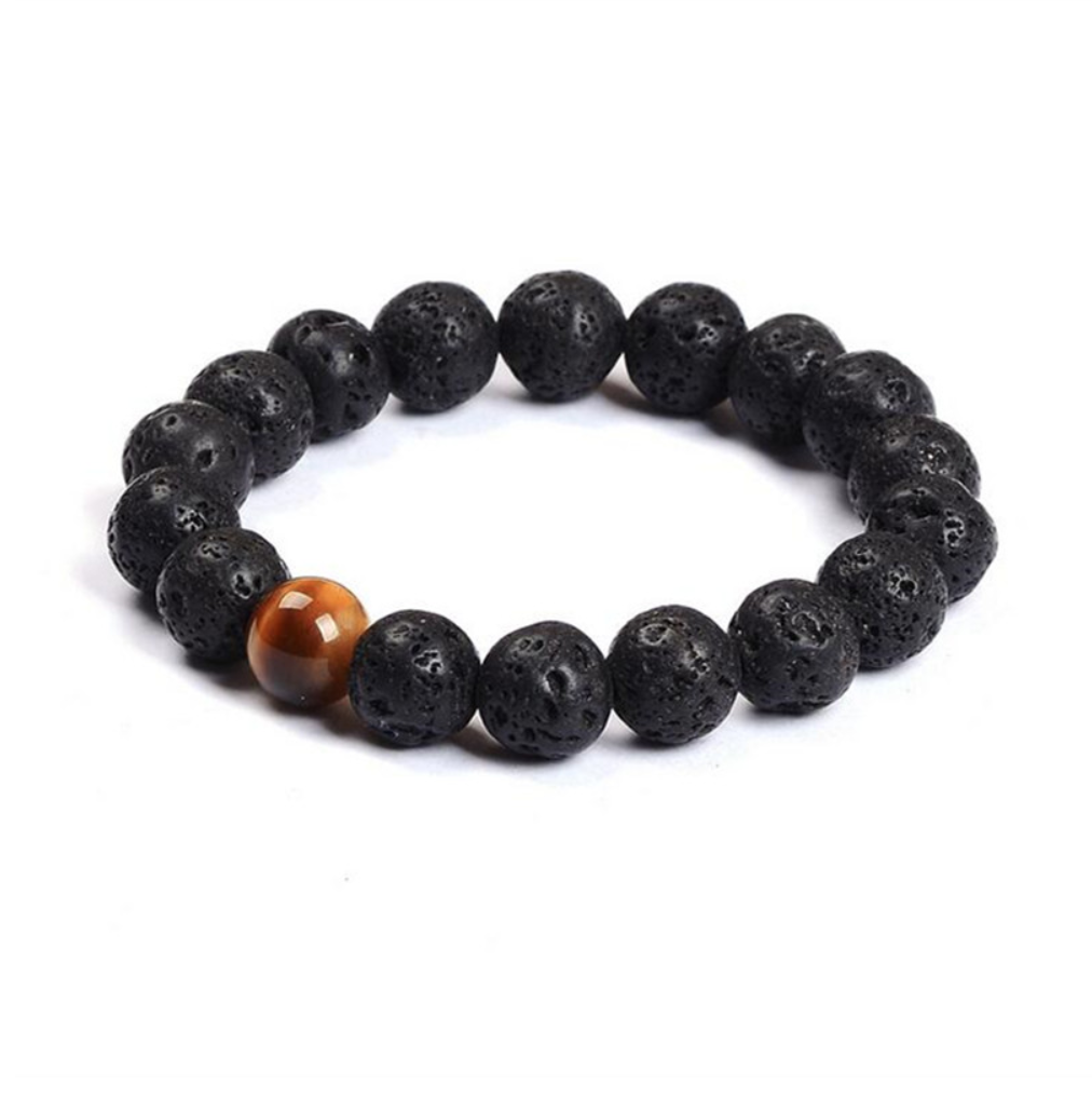 beaded lava stone bracelet eye tiger