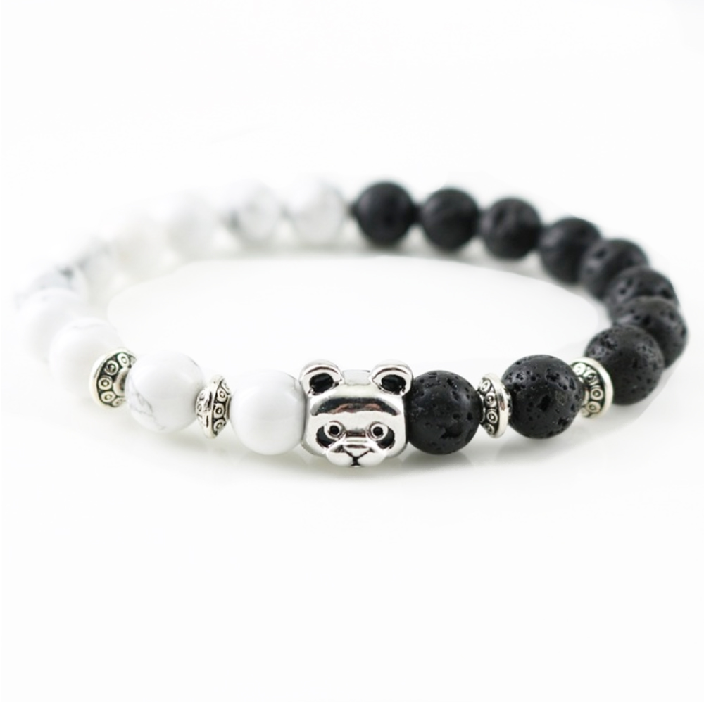 panda bracelet handmade beaded natural stones
