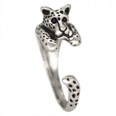 leopard tiger ring silver